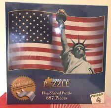 New!! 2001 Wrebbit PERFALOCK USA FLAG SHAPED Puzzle 887pcs Sealed!!