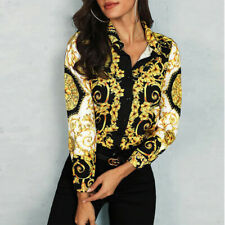 Dashiki Versace Split Sexy Blouse Party top Luxury Women Button Elegant Leopard