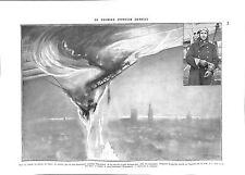 WWI Zeppelin Pilot Reginald Warneford Royal Naval Air Service RNAS ILLUSTRATION