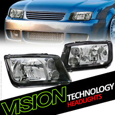 Euro Black Headlights Headlamps W/Built In Fog 99-05 Volkswagen Jetta Mk4 Mkiv