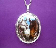 Porcelain 2 ARABIAN WHITE & BROWN SHOW HORSES CAMEO ST Locket Pendant Necklace