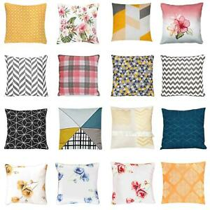 *CLEARANCE* Soft 100% Cotton Geometric Floral Filled Bed Cushion Throw Pillow