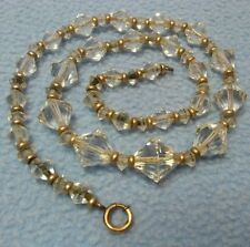 """SALE! Vintage Simmons Art Deco Style Bicone Lead Crystal Necklace 16"""""""