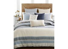 Hotel Collection Linen Stripe Blue Tan Queen Duvet Cover $330