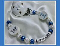 ♕ Personalised DUMMY CLIP Max 10 letters ♕ LITTLE PRINCE ♕ SKY BLUE Sparkle ♕