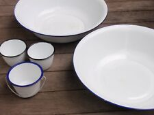 LOT OF VINTAGE WHITE ENAMELWARE BOWLS /BASINS AND CUPS