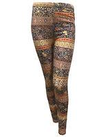 New Womens Tie Dye Floral Checks Aztec Printed Skinny Stretchy Trouser Leggings