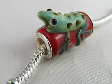 925 STAMPED SILVER CORE MURANO ANIMAL BEAD EURO STYLE CHARM BRACELET-FROG ON LOG