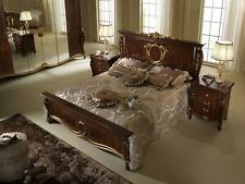 Double Bed Bed Wood Design Beds Antique Style Baroque Rococo 2x Nightstand New
