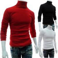 Mens High Neck Winter Slim  Pullover Jumper Sweatshirt Basic Tops Sweater Blouse