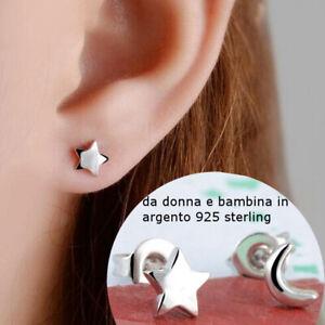 orecchini da donna in argento 925 a luna stelle piccoli per bimba bambina lobo