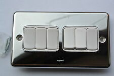 Legrand Synergy 7332 06 10ax Switch 6x2way in Stainless Steel Polished Chrome