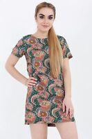 WOMENS LADIES CELEB AZTEC PAISLEY PRINT SUMMER SHIFT TUNIC  MINI BODYCON DRESS