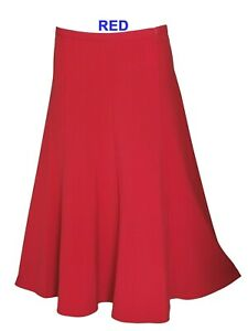 New Women's Ladies A - Line Half Elasticated Waist Plain Skirt Sizes 10 - 24