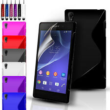 S-Line Silicone Gel Case Cover Pouch For Sony Experia Z3 & FREE Screen Protector