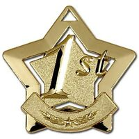1st 2nd 3rd STAR MEDALS 60MM SCHOOL AWARD SPORTS DAY FREE MEDAL RIBBON P&P AM711