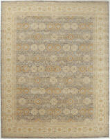 9X12 Hand-Knotted Oushak Carpet Traditional Grey Fine Wool Area Rug D55840