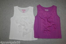 Toddler Baby Girls Two Lot Tank Top White Purple Lace Ruffles & Upper 12 Mo