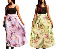 UK New Womens/Ladies Chiffon Elasticated Waist Double Layer Skirt Plus Size 6-14