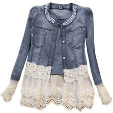 Women's Girls Denim Jacket Coat Lace Splicing Jeans Jacket Casual Party Outwear