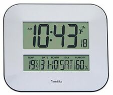 Jumbo LCD Radio Controlled Wall Clock with Temperature and Humidity display (UK