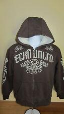 Youth XL 18 20 Ecko Unltd Brown Full Zip Hoodie Jacket Thick Lined Torso & Hoody