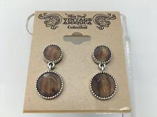 NWT Nine West Vintage America Silvertone Brown Marbled Rhinestone Earrings R3