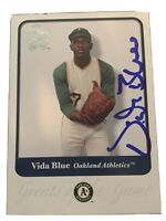 Vida Blue 2001 Fleer Greats Of The Game #86 Oakland Athletics Signed Card