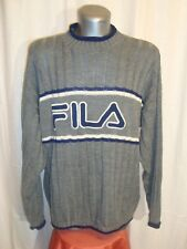VTG Men's FILA grey/blue crew neck terrace casual knitted jumper sz L great co