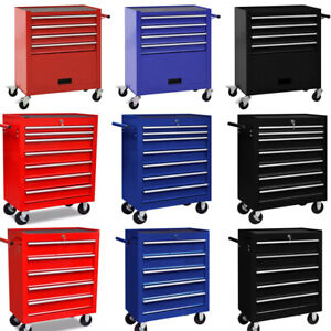 4/5/7 Drawers Tool Cabinet Wheel Trolley Chest Box Cabinet DIY Workshop 3 Colors