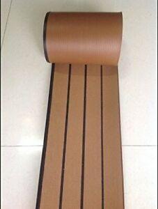 12.5  Meter Roll Marine Synthetic Teak Deck 190*5mm Brown With Black Caulking