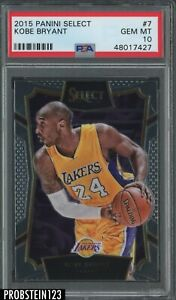 2015-16 Panini Select #7 Kobe Bryant Los Angeles Lakers PSA 10 GEM MINT