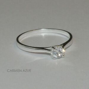 925 Sterling Silver Solitaire Ring CZ Size J,K,L,M,N,O,P,Q,R,S New inc Gift Bag