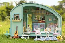 DIY Wooden Dollhouse Miniature Kit Doll house motor home LED+Music+Voice control
