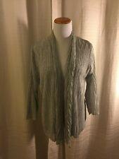 Eileen Fisher Linen Metallic Open Front Gray Crinkle Cardigan Sweater Petite M