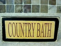 Country Bath Primitive Rustic Farmhouse Sign Shelf Sitter Block Wall Plaque