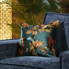Satin Paradise Floral Scatter Cushion Pillow 430 x 430mm Square Teal