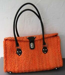 Coldwater Creek Orange Straw & Black Faux Leather Straps Tote Hand Bag Great!