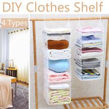 Portable Wardrobe Storage DIY Hanger Hanging Closet Organizer Clothes Shelf Rack