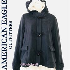 American Eagle Outfitters AEO navy blue toggle button fleece hoodie jacket sz M