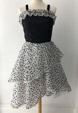 Vintage 80s Polka Dot Prom Dress Black & White Tulle Size 8-10 1980s Rockabilly