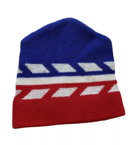 VTG Striped Knit Wool Ski Hat Beanie Cap Acrylic Red White Blue 80s Profile