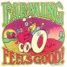 Original Vintage Farming Feels Good Mini Iron On Transfer