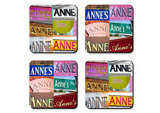 Personalized Coasters featuring the name ANNE in photos of signs - Set of 4