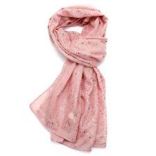 Pequeña impresión bufanda de estrellas Rosa Pálido Oro Metálico Hoja de Estrellas Impresión Bufanda Envolvente