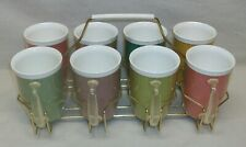 Complete Set of 8 Vintage Raffiaware Mugs in Carry Rack Cup Caddy Excellent Cond
