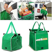 Top 2 Pcs Reusable Grocery Shopping Eco Bags Clip-To-Cart Grab Bag As Seen On TV