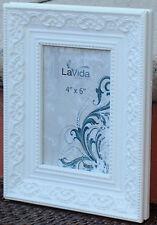 "REDUCED  Ornate  Warm White Wood  Photo Frame  (  6 ""  x   4  "" )   BRAND NEW"