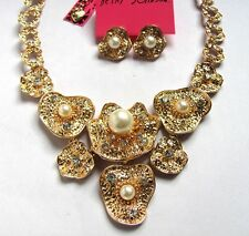 Betsey Johnson crystal/pearl Water Lilies combine Necklace Earring set#900T