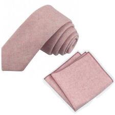 Vintage Pink Blush Skinny Tweed Wool Tie & Pocket Square Set. Great Reviews. UK.